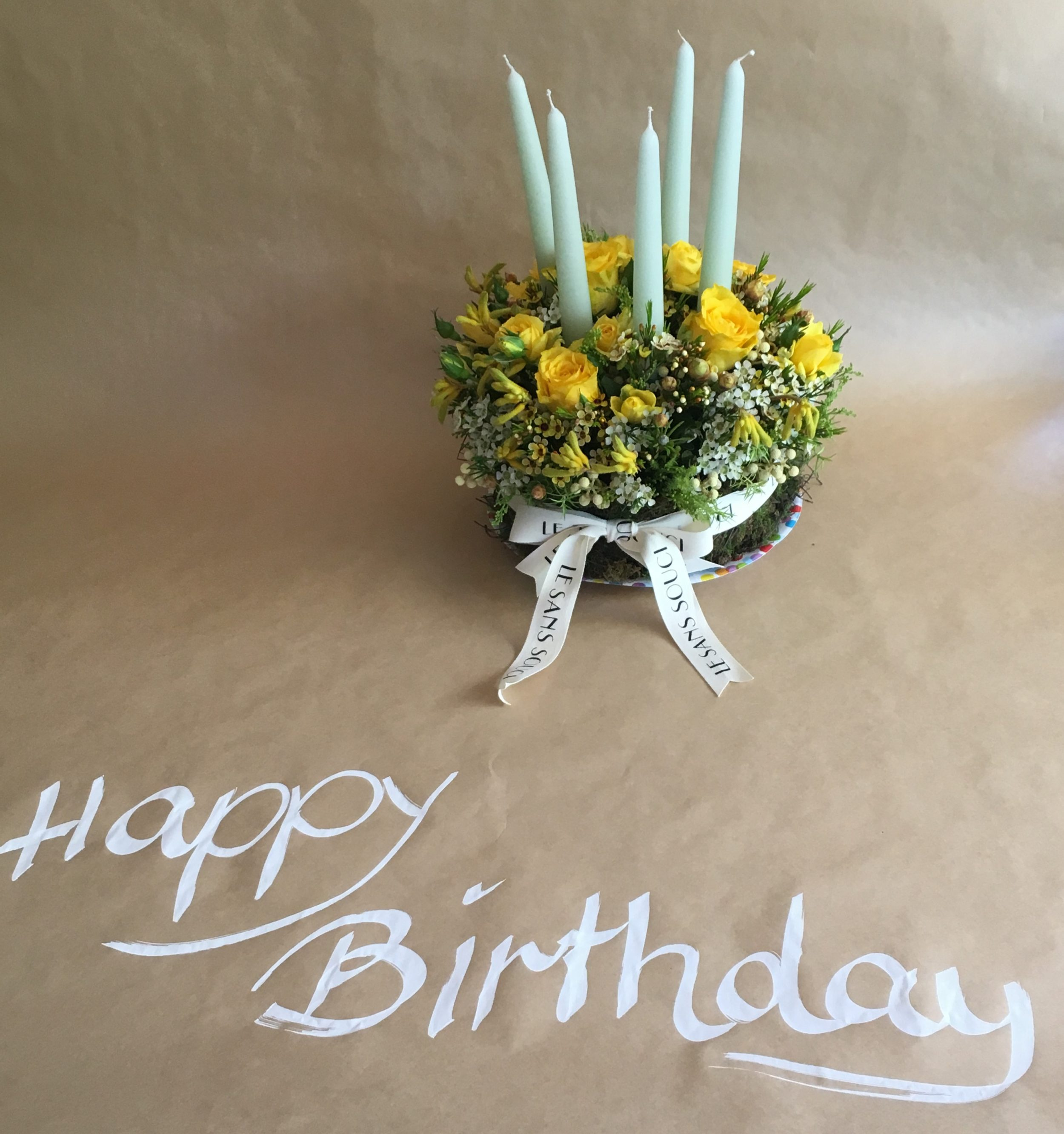 Happy Birthday Floral Cake With Candles